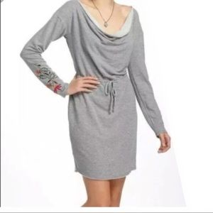 Anthropologie Sweatshirt Dress Grey Floral XS